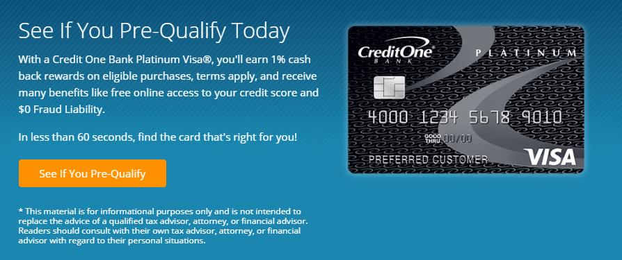 Credit one bank platinum visa apply