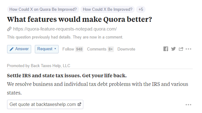 Quora ads question page