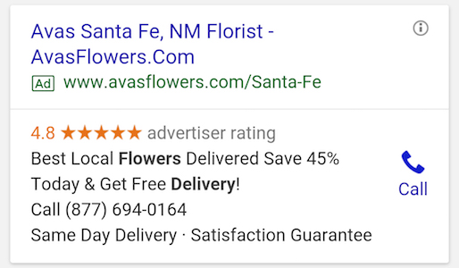 Google Ads extensions mobile call