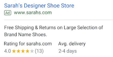 Google Ads extensions seller ratings