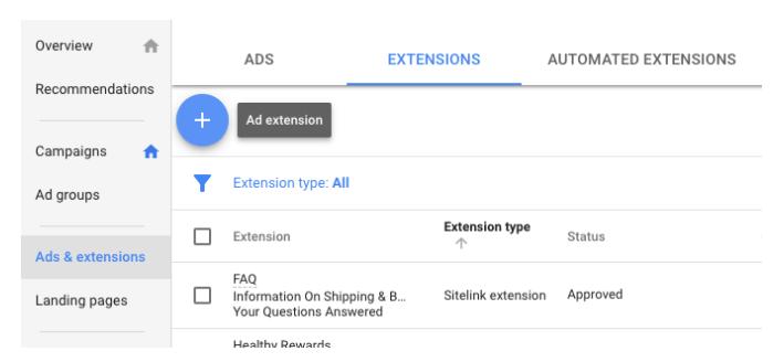 Google Ads extensions setup