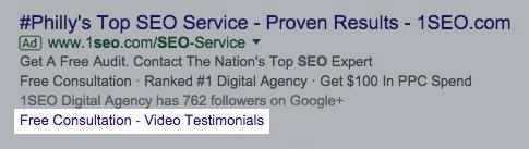 Google Ads extensions sitelink