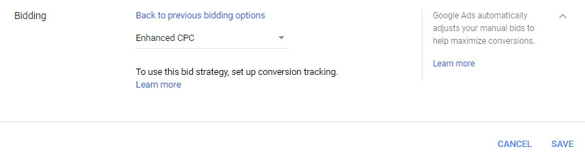 Google Ads automated bidding enhanced CPC