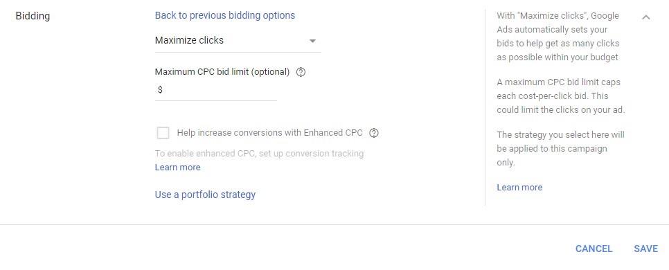 Google Ads automated bidding maximize clicks