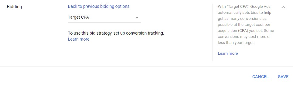 Google Ads automated bidding target CPA