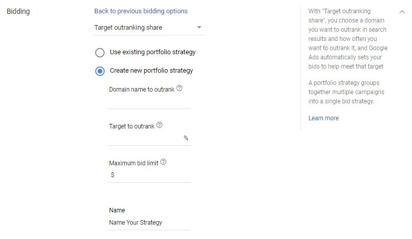 Google Ads automated bidding target outranking share