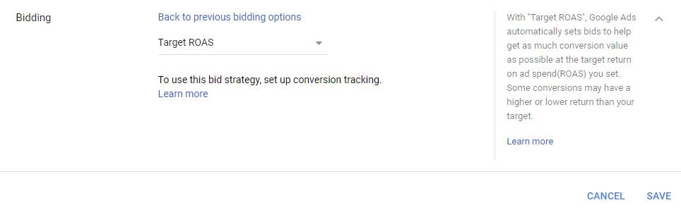 Google Ads automated bidding target ROAS