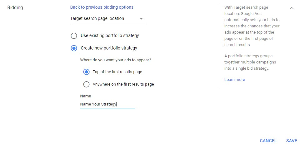 Google Ads automated bidding target search page location