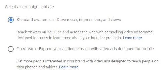 YouTube bumper ads impressions