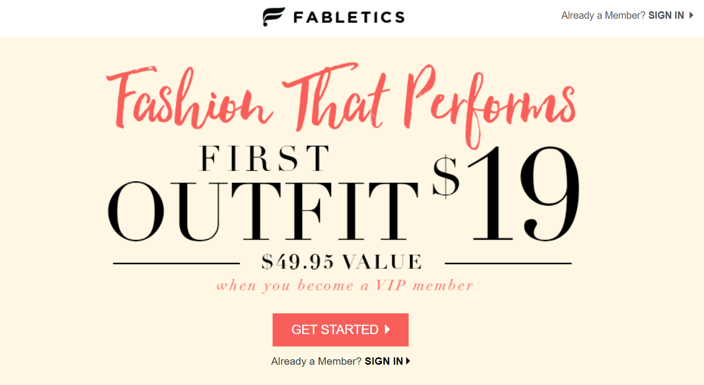 best ecommerce post-click landing pages Fabletics