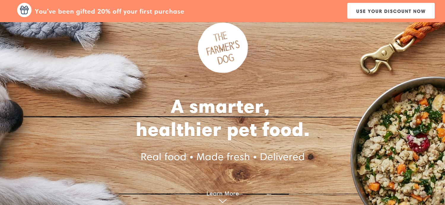 ecommerce post-click landing page examples Farmer's Dog