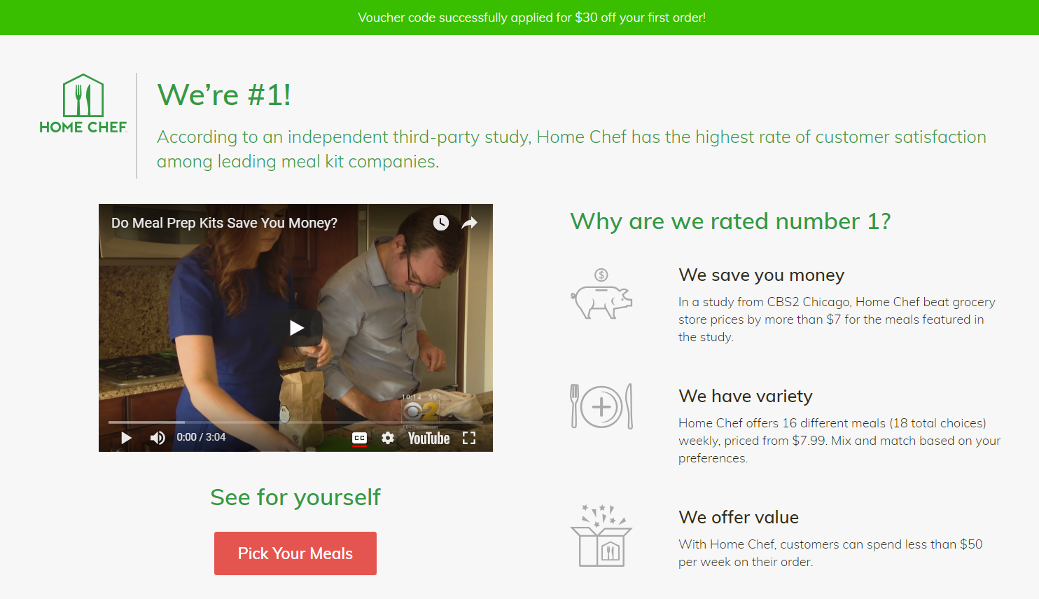 ecommerce post-click landing page examples Home Chef