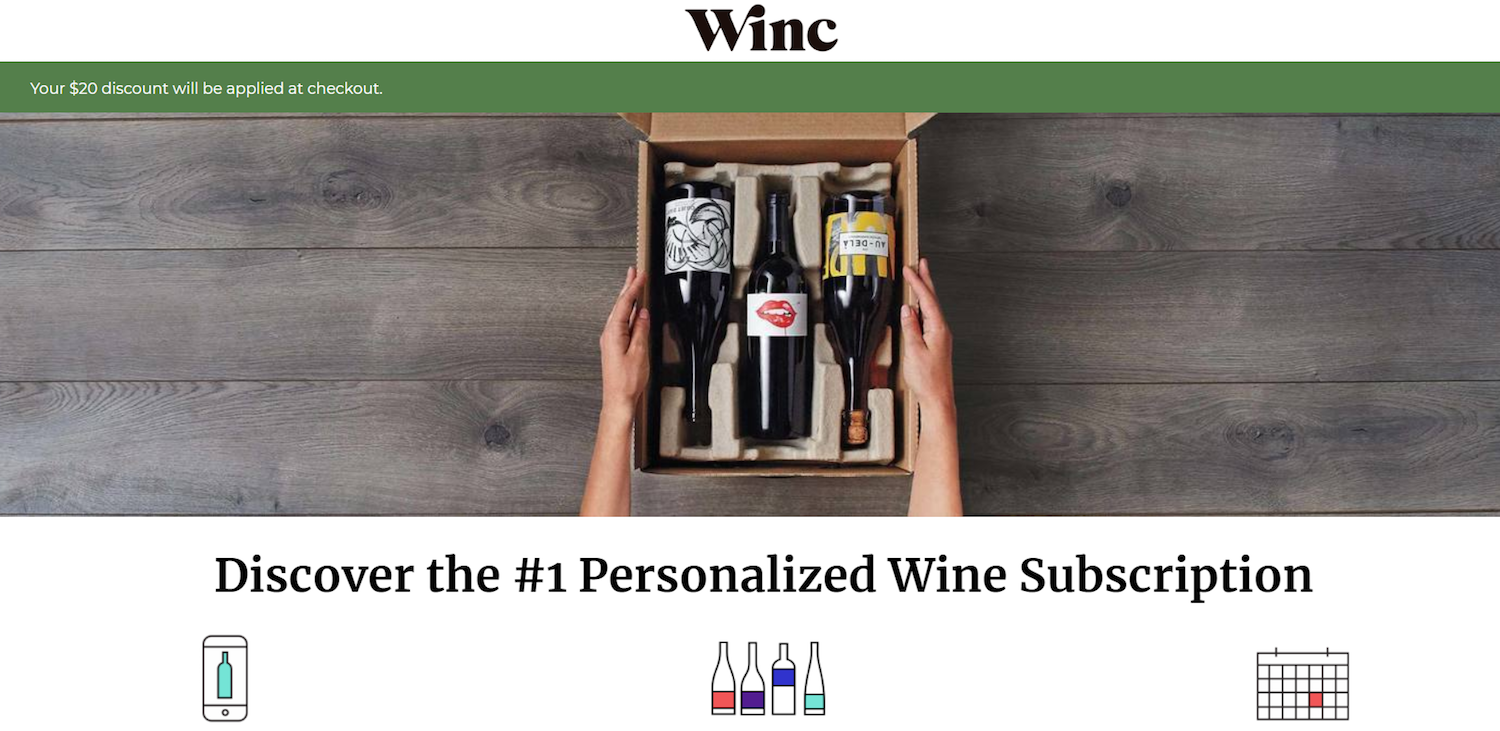 ecommerce post-click landing page examples Winc