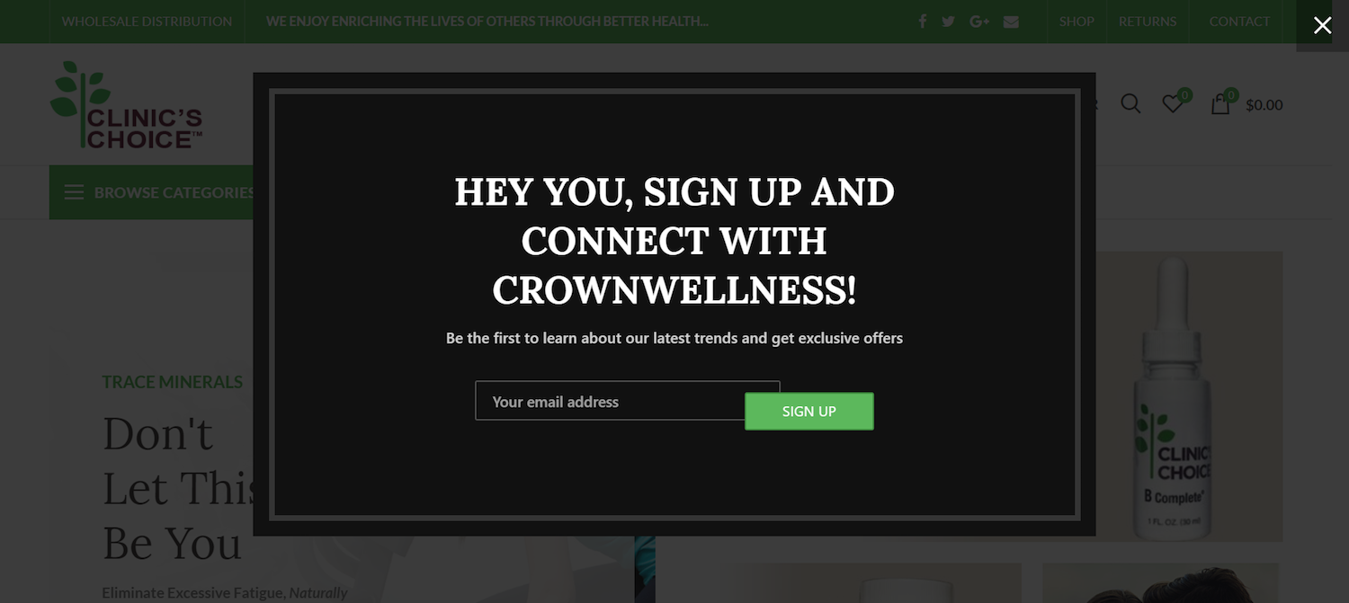 post-click landing pages ecommerce Crown Wellness