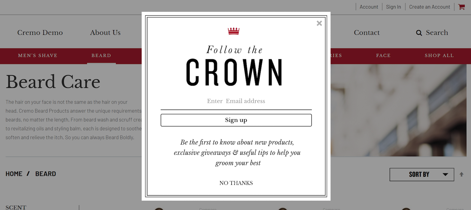 post-click landing pages ecommerce Crown