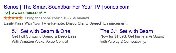 Google seller ratings Sonos
