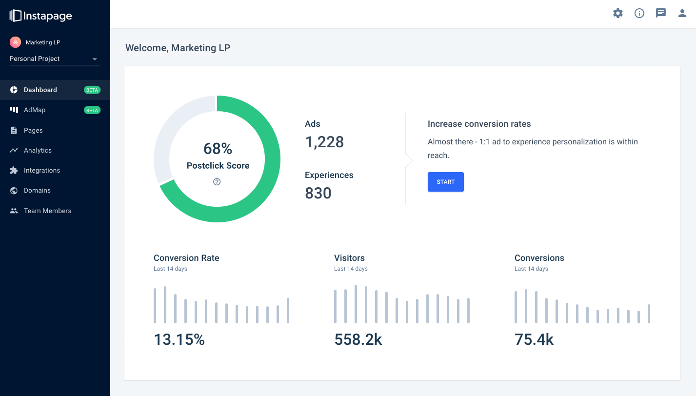 new Instapage Postclick engagement dashboard