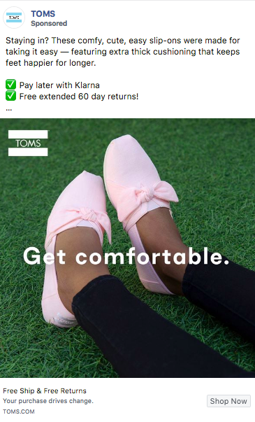 COVID-19 TOMS Facebook ad campaign example