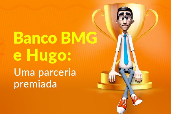 Fundo laranja. O avatar da Hand Talk, Hugo, está sentado na base de um troféu dourado