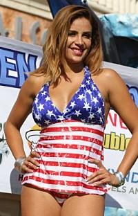 UjENA: W263 American Stars and Stripes Vintage Open-Back Tankini Bikini