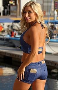 UjENA: H200 Baby Blue Jean Bikini Short