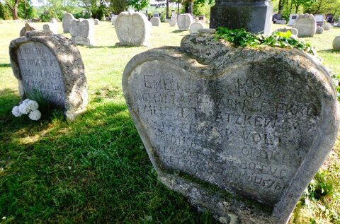 Heart-shaped tombstones