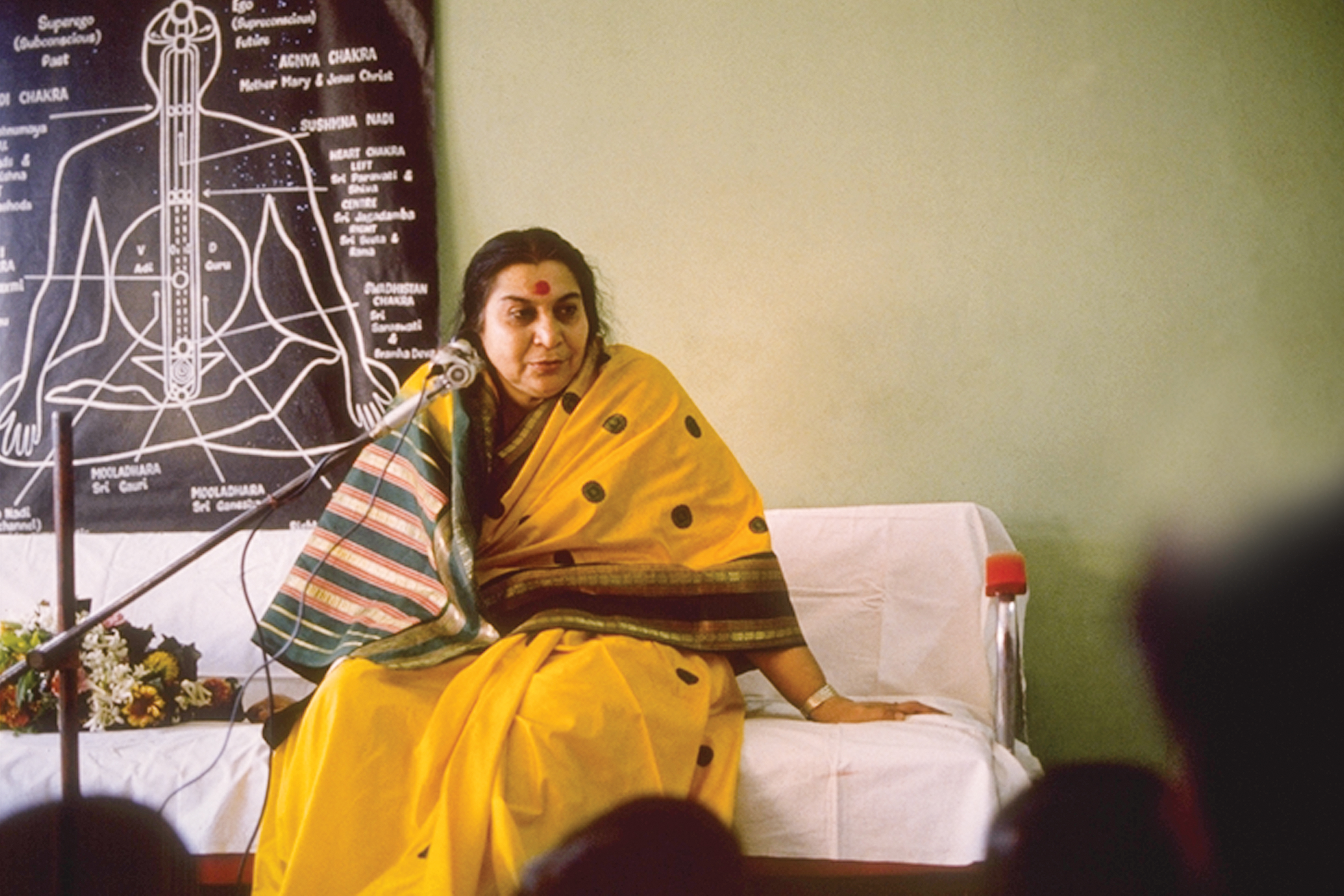 Shri Mataji giving a lecture on the subtle system