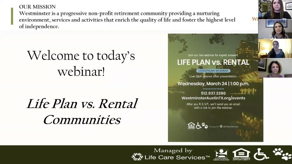 Life Plan vs  Rental Communities