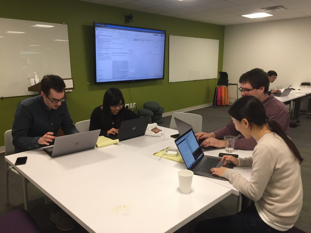 Hackathon teams working