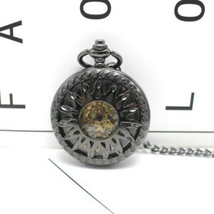 Black Steampunk Skeleton Mechanical Pocket Watch Men Antique Luxury Brand Necklace Pocket & Fob Watches Chain Male Clock GIft