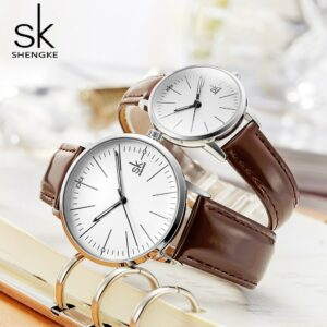 Shengke Couple Watch Men Women Watches Simple Quartz Reloj High Quality Relogio Masculino Business Clock Unisex Lover Watch Saat