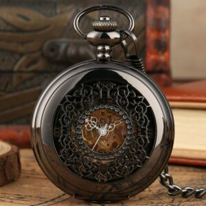 Retro Mechanical Grilles Pocket Watch Black Carving Watch Fob Chain Vintage Hollow Half Hunter Pendant Clock Hours Gift Relgio