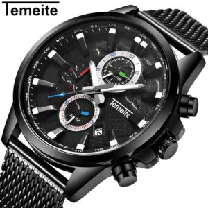 TEMEITE Original Mens Watches Top Brand Luxury Waterproof Quartz Watch Men Clock Date Mesh Strap Wristwatches Male Relogio
