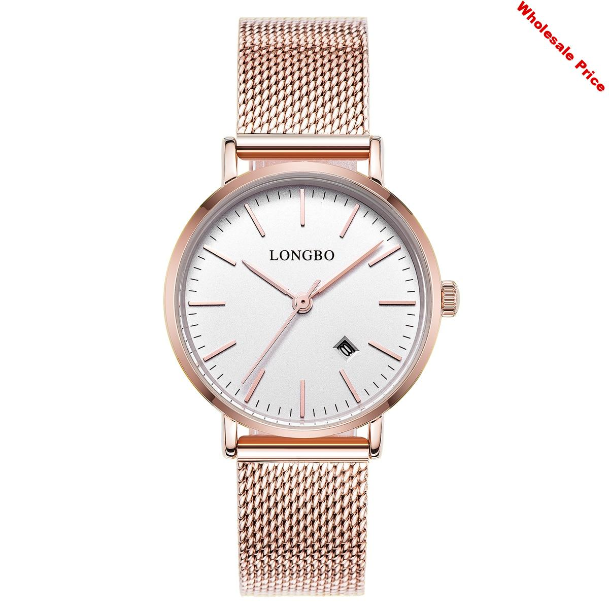 Longbo Luxury Lovers Watches Men Women Automatical Calendar Mesh Stainless Steel Adjustable Band Quartz Gift Watch Montre Homme