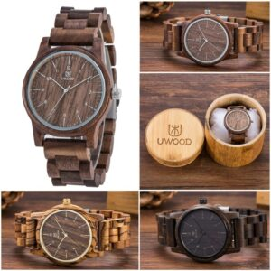2020 Uwood Wooden Watches Wood Men`s Wristwatches Wooden Band Japan Move' 2035 Quartz Fashion Wood Watch Men relogio masculino