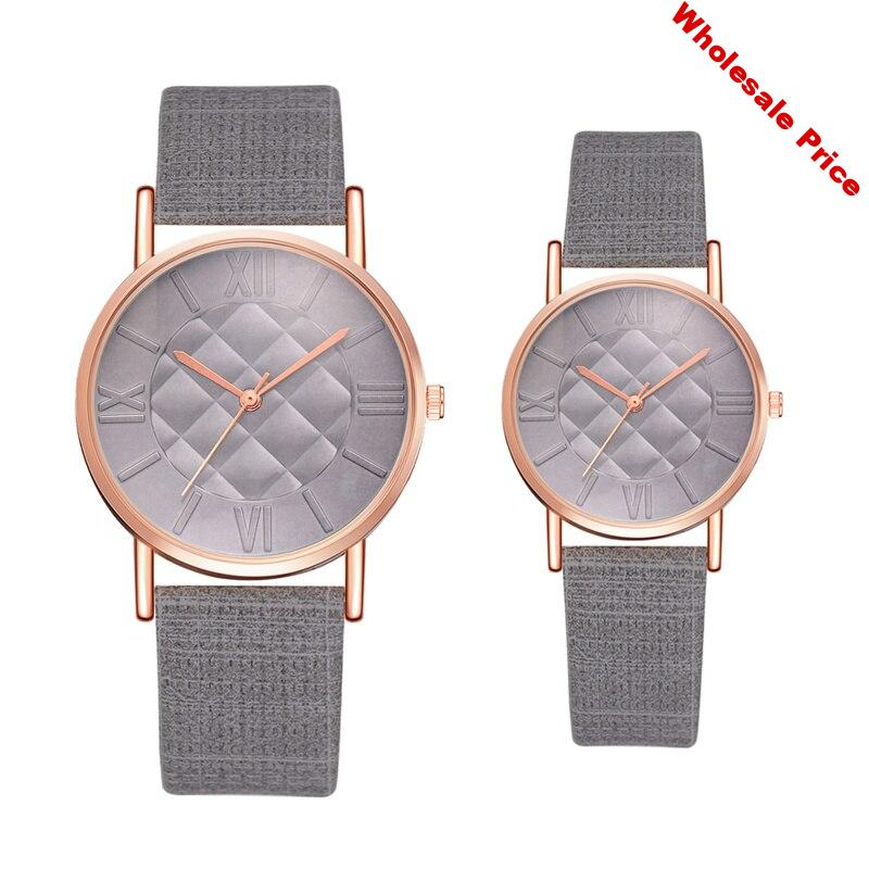 Couple Watches 2 Pcs Round Dial Analog Simple Womens Creative Leather Watches Women Ladies Dress Quartz Wristwatch Reloj Mujer