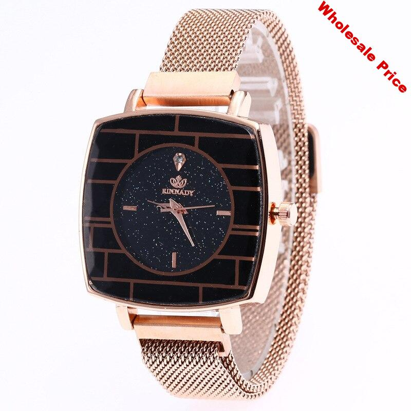 for hot JOOM web celebrity in same woman contracted disc set auger wrist magnetic steel mesh belt buckle square watch