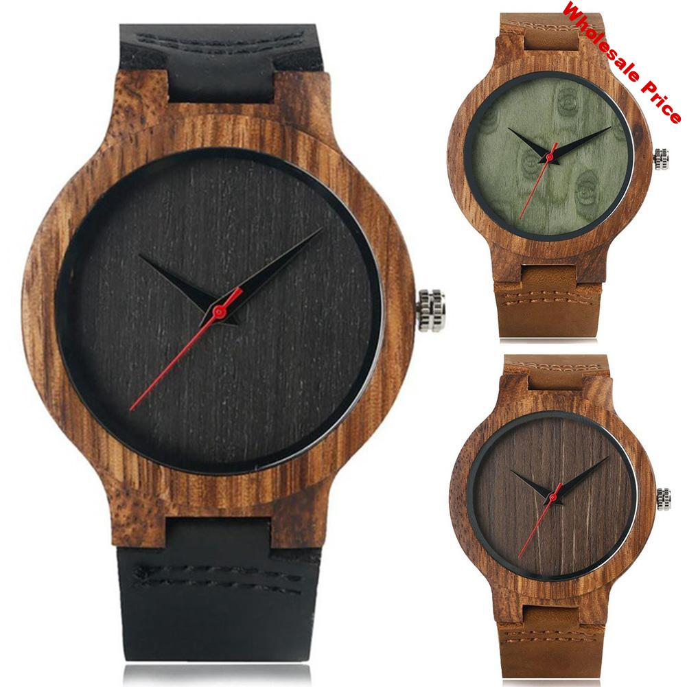Unisex Wood Round Dial Faux Leather Strap No Number Analog Quartz Wrist Watch Quartz Watches in Wood Gift Clock Couple Watch