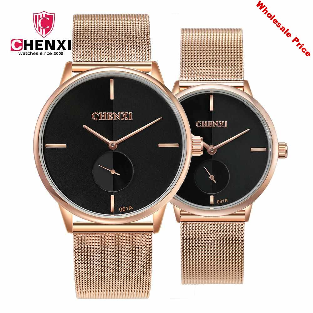 CHENXI Brand Couple Watches Ultra Thin Simple Stainless Steel Watchband High Quality Gold Watch Lovers Gift Luxury Wristwatches