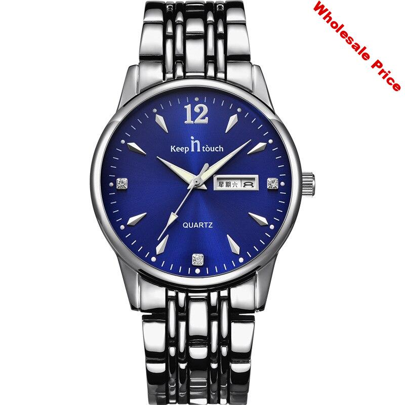 KEEP IN TOUCH Couple Fashion Casual Calendar Waterproof Wrist Watch Womens Men Quartz Stainless Steel Strap Lovers Watches Clock