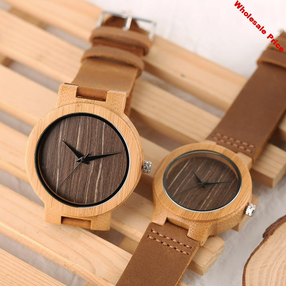 Lover's Watch Round Wooden Wristwatch Quartz Watch for Couple Men 45mm Dial Women 38mm Dial Brown Simple Analog Watches