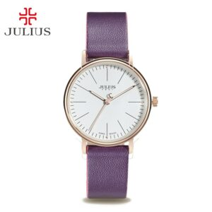 Classic Women's Watch Lady Clock MIYOTA Quartz Contrast Color Couple Fashion Hours Leather Simple Lovers' Gift Julius Box