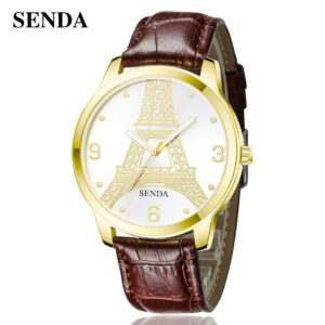 SENDAS New Fashion Creative Eiffel Tower Dress Wristwatch Womens Mens Simple Waterproof Quartz Leather Strap Lover Watch Relogio