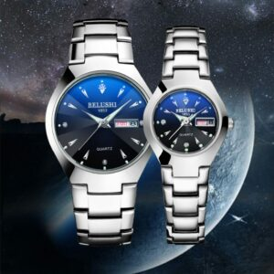 Couple Watch Luxury Brand Quartz Wristwatches Stainless Steel Casual Watches Wrist Lovers Calendar Simple Watch Men Women Clock