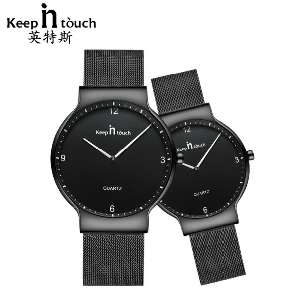 KEEP IN TOUCH Womens Men Watches for Couples Simple Luxury Quartz Ladies Waterpoof Wrist Watch Mesh Steel Lovers Hours with Box