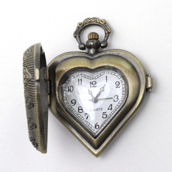 5pc Hollow Heart Quartz Pocket Watch Sculpture Vintage Emboss Zinc Alloy for Hangles Necklace Making Antique Bronze 46x41x13.5mm