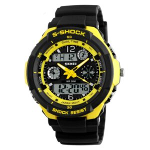 【USA Warehouse】5ATM Water Resistant Dual Time Fashion Men LCD Digital Stopwatch Chronograph Date Alarm Casual Sports Wrist Watch