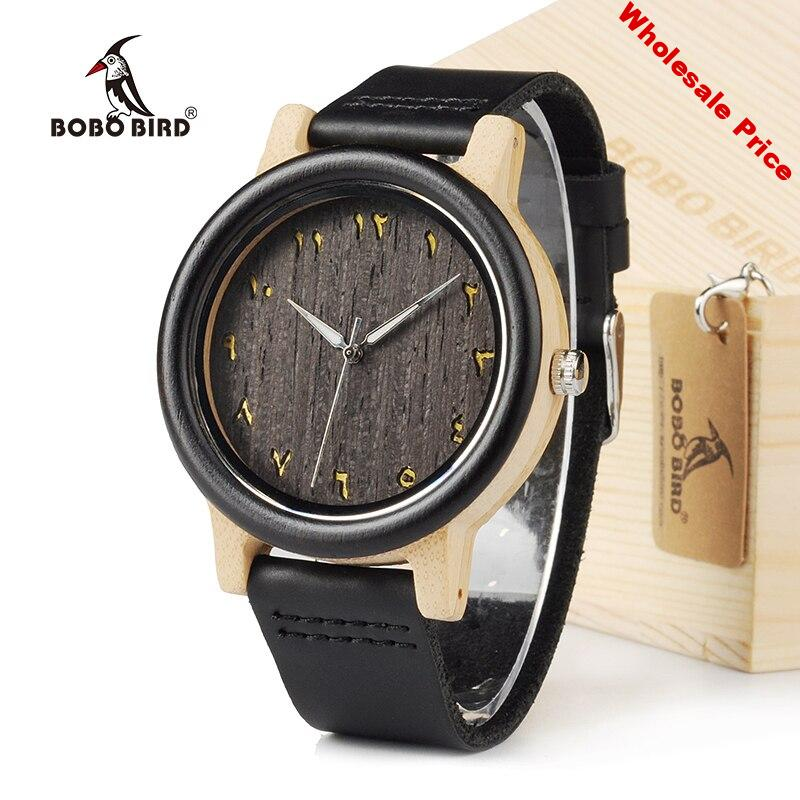 BOBO BIRD EN16 Unisex Ebony And Bamboo Wood Quartz Analog Watch Dial 40mm With Real Leather Watch Bands