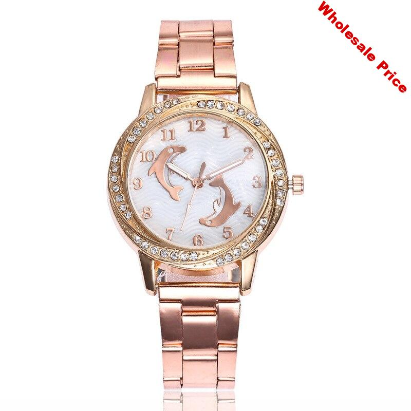 ladies watch of wrist of steel belt set auger han edition dolphins in quartz watch students watch factory direct sale