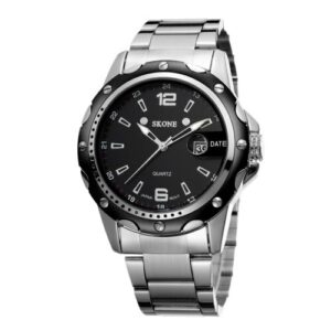 【USA Warehouse】Alloy Watchband Waterproof Quartz Men Watch Hot Sell Fashion Precise Wristwatch with Calendar